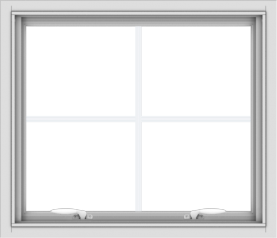 WDMA 28x24 (27.5 x 23.5 inch) White uPVC Vinyl Push out Awning Window with Colonial Grids Interior