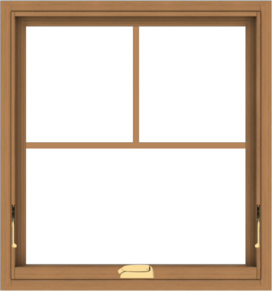 WDMA 28x30 (27.5 x 29.5 inch) Oak Wood Dark Brown Bronze Aluminum Crank out Awning Window with Fractional Grilles