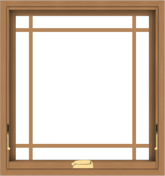 WDMA 28x30 (27.5 x 29.5 inch) Oak Wood Dark Brown Bronze Aluminum Crank out Awning Window with Prairie Grilles