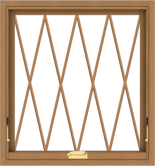 WDMA 28x30 (27.5 x 29.5 inch) Oak Wood Dark Brown Bronze Aluminum Crank out Awning Window without Grids with Diamond Grills