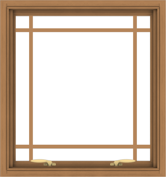 WDMA 28x30 (27.5 x 29.5 inch) Oak Wood Green Aluminum Push out Awning Window with Prairie Grilles