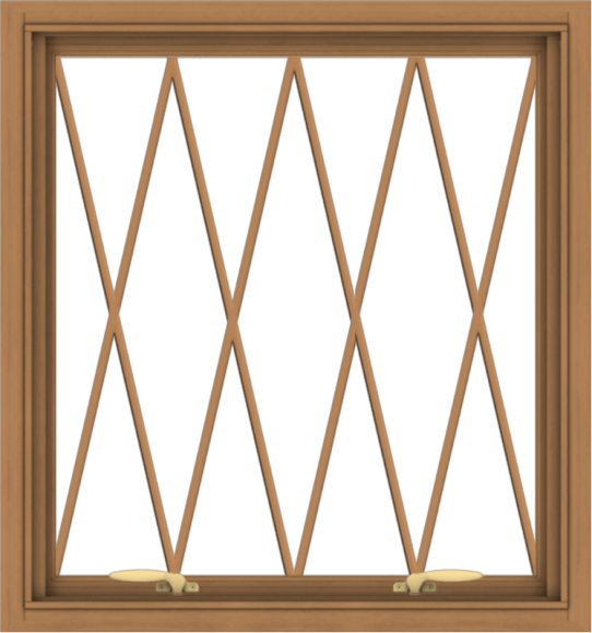 WDMA 28x30 (27.5 x 29.5 inch) Oak Wood Green Aluminum Push out Awning Window without Grids with Diamond Grills