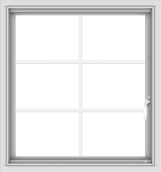 WDMA 28x30 (27.5 x 29.5 inch) Vinyl uPVC White Push out Casement Window with Colonial Grids