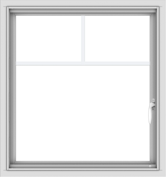 WDMA 28x30 (27.5 x 29.5 inch) Vinyl uPVC White Push out Casement Window with Fractional Grilles