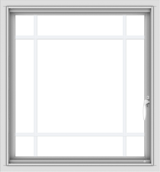 WDMA 28x30 (27.5 x 29.5 inch) Vinyl uPVC White Push out Casement Window with Prairie Grilles