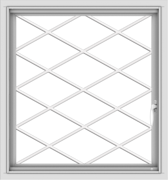WDMA 28x30 (27.5 x 29.5 inch) Vinyl uPVC White Push out Casement Window  with Diamond Grills