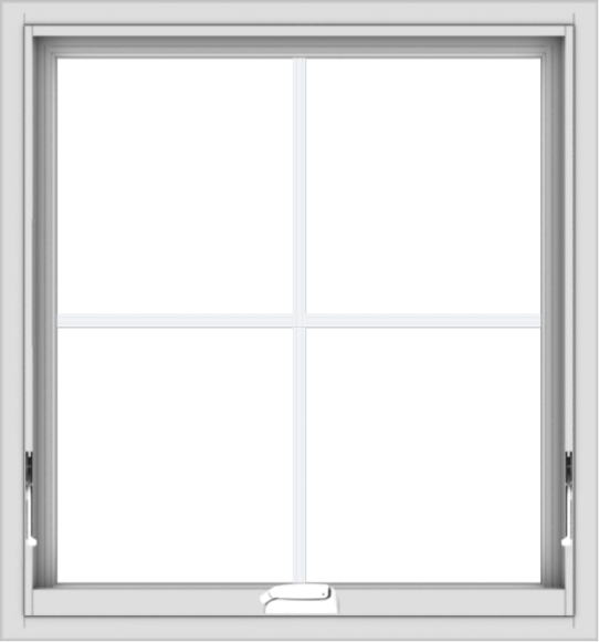 WDMA 28x30 (27.5 x 29.5 inch) White Vinyl uPVC Crank out Awning Window with Colonial Grids Interior