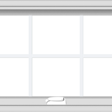 WDMA 32x20 (31.5 x 19.5 inch) White Vinyl uPVC Crank out Awning Window with Colonial Grids Interior