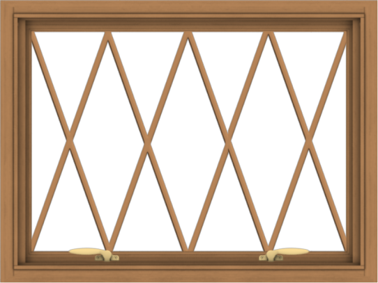WDMA 32x24 (31.5 x 23.5 inch) Oak Wood Green Aluminum Push out Awning Window without Grids with Diamond Grills