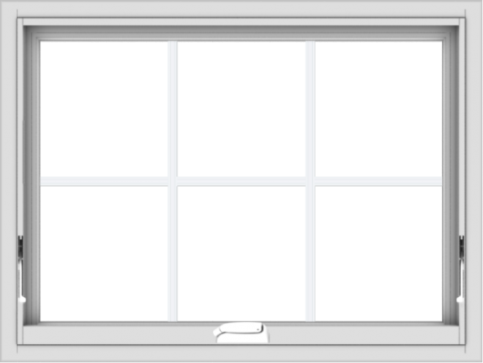WDMA 32x24 (31.5 x 23.5 inch) White Vinyl uPVC Crank out Awning Window with Colonial Grids Interior