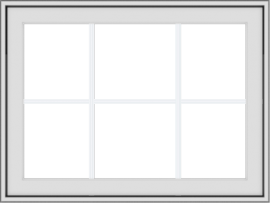 WDMA 32x24 (31.5 x 23.5 inch) White Vinyl uPVC Crank out Awning Window with Colonial Grids Exterior