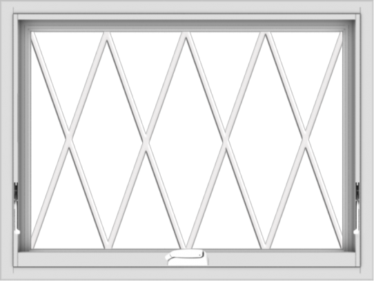 WDMA 32x24 (31.5 x 23.5 inch) White Vinyl uPVC Crank out Awning Window without Grids with Diamond Grills
