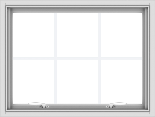 WDMA 32x24 (31.5 x 23.5 inch) White uPVC Vinyl Push out Awning Window with Colonial Grids Interior