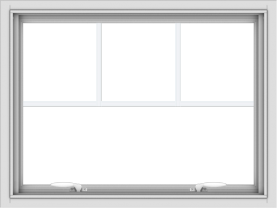 WDMA 32x24 (31.5 x 23.5 inch) White uPVC Vinyl Push out Awning Window with Fractional Grilles