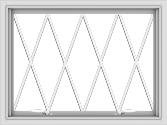 WDMA 32x24 (31.5 x 23.5 inch) White uPVC Vinyl Push out Awning Window without Grids with Diamond Grills