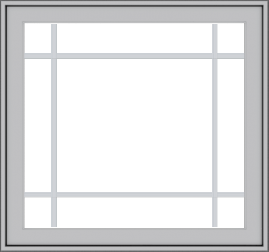 WDMA 32x30 (31.5 x 29.5 inch) Pine Wood Light Grey Aluminum Push out Casement Window with Prairie Grilles