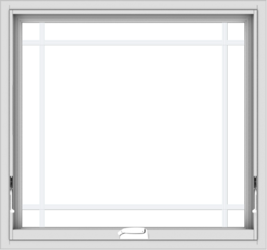 WDMA 32x30 (31.5 x 29.5 inch) White Vinyl uPVC Crank out Awning Window with Prairie Grilles