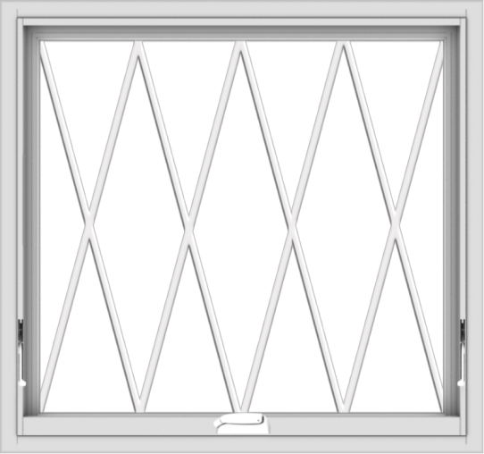 WDMA 32x30 (31.5 x 29.5 inch) White Vinyl uPVC Crank out Awning Window without Grids with Diamond Grills
