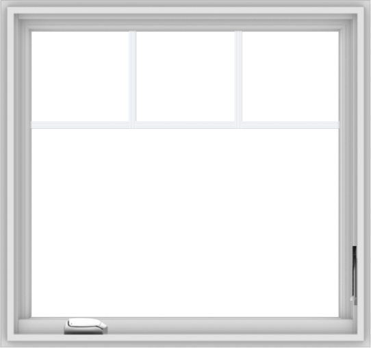 WDMA 32x30 (31.5 x 29.5 inch) White Vinyl UPVC Crank out Casement Window with Fractional Grilles