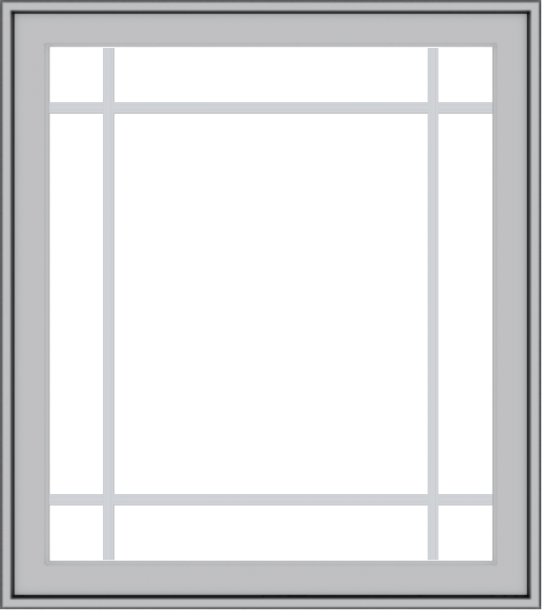 WDMA 32x36 (31.5 x 35.5 inch) Pine Wood Light Grey Aluminum Push out Casement Window with Prairie Grilles