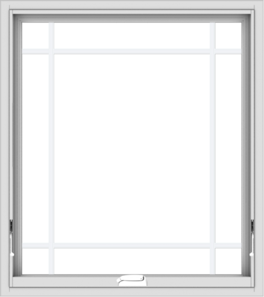 WDMA 32x36 (31.5 x 35.5 inch) White Vinyl uPVC Crank out Awning Window with Prairie Grilles