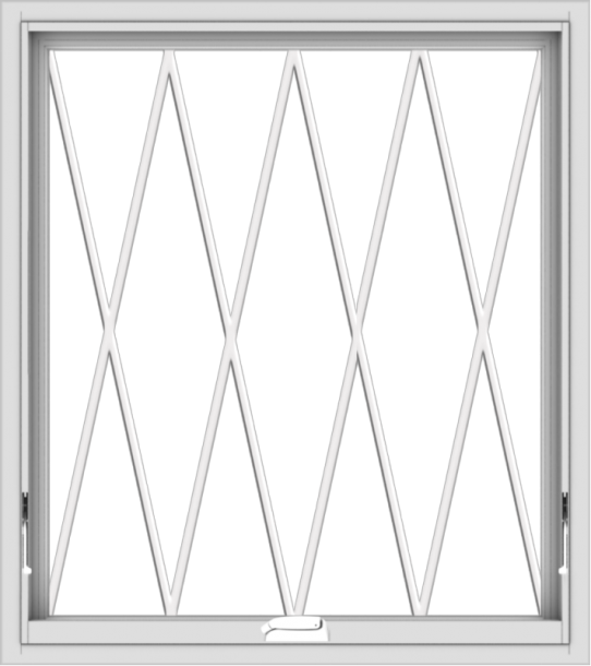 WDMA 32x36 (31.5 x 35.5 inch) White Vinyl uPVC Crank out Awning Window without Grids with Diamond Grills