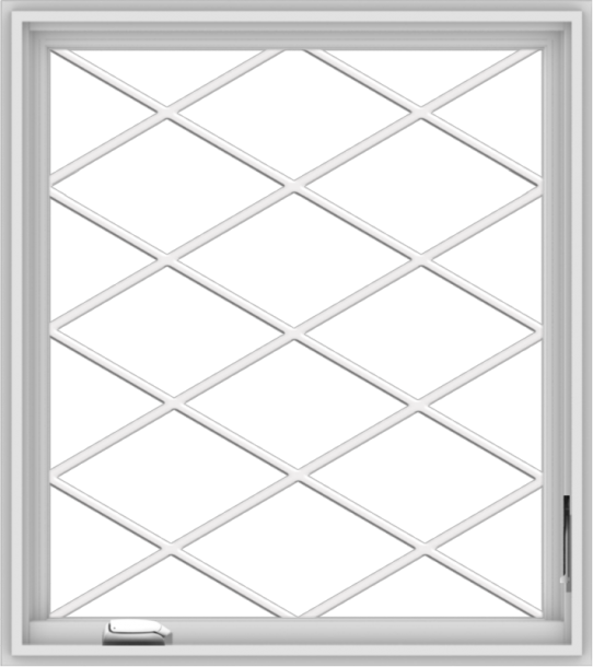 WDMA 32x36 (31.5 x 35.5 inch) White Vinyl UPVC Crank out Casement Window without Grids with Diamond Grills