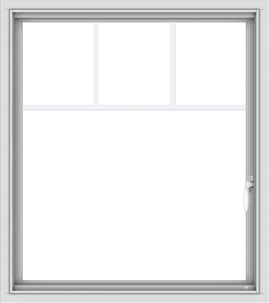 WDMA 32x36 (31.5 x 35.5 inch) White uPVC Vinyl Push out Casement Window with Fractional Grilles