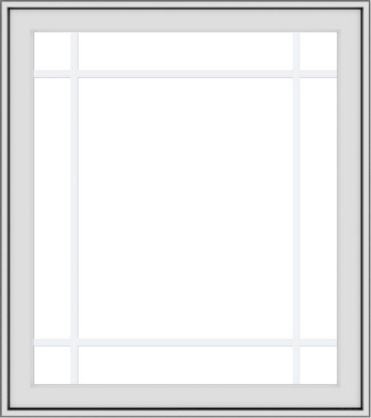 WDMA 32x36 (31.5 x 35.5 inch) White uPVC Vinyl Push out Casement Window with Prairie Grilles