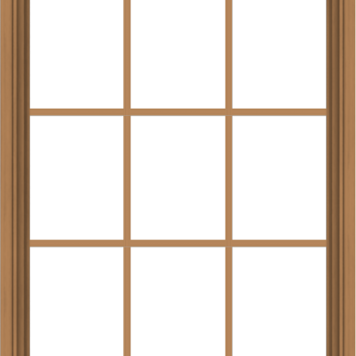 WDMA 32x40 (31.5 x 39.5 inch) Oak Wood Green Aluminum Push out Awning Window with Colonial Grids Interior
