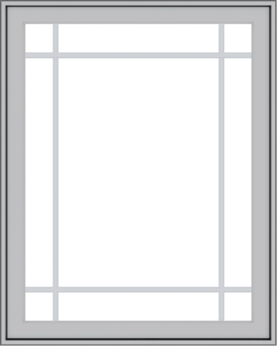 WDMA 32x40 (31.5 x 39.5 inch) Pine Wood Light Grey Aluminum Push out Casement Window with Prairie Grilles