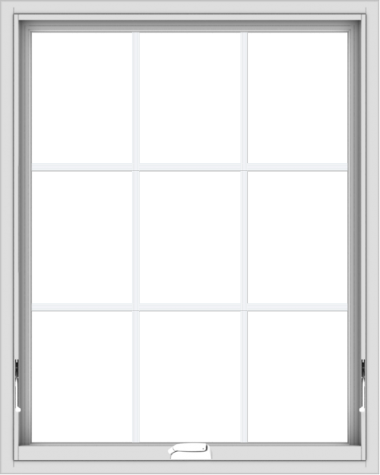 WDMA 32x40 (31.5 x 39.5 inch) White Vinyl uPVC Crank out Awning Window with Colonial Grids Interior