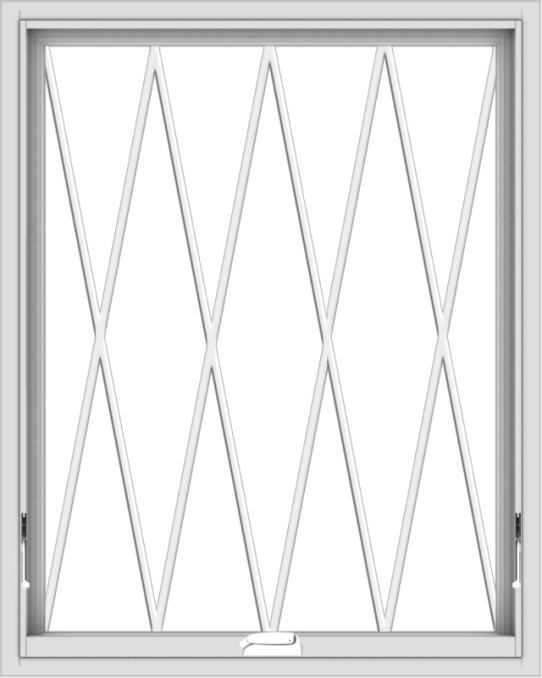 WDMA 32x40 (31.5 x 39.5 inch) White Vinyl uPVC Crank out Awning Window without Grids with Diamond Grills