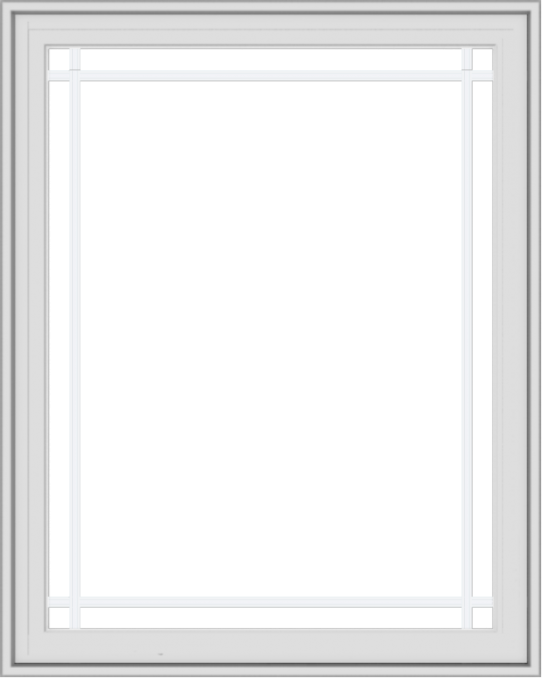 WDMA 32x40 (31.5 x 39.5 inch) White Vinyl UPVC Crank out Casement Window with Prairie Grilles
