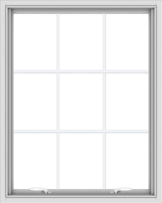 WDMA 32x40 (31.5 x 39.5 inch) White uPVC Vinyl Push out Awning Window with Colonial Grids Interior