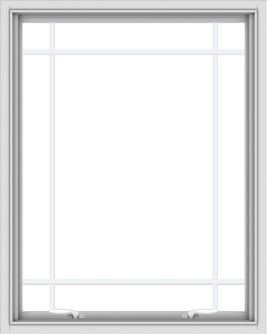 WDMA 32x40 (31.5 x 39.5 inch) White uPVC Vinyl Push out Awning Window with Prairie Grilles