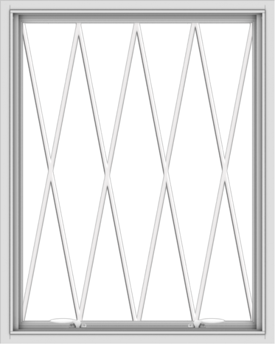WDMA 32x40 (31.5 x 39.5 inch) White uPVC Vinyl Push out Awning Window without Grids with Diamond Grills