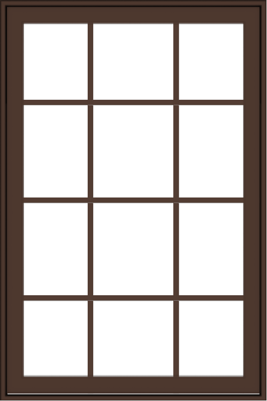 WDMA 32x48 (31.5 x 47.5 inch) Oak Wood Dark Brown Bronze Aluminum Crank out Awning Window with Colonial Grids Exterior