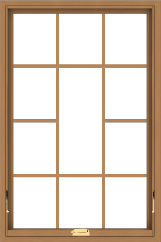 WDMA 32x48 (31.5 x 47.5 inch) Oak Wood Dark Brown Bronze Aluminum Crank out Awning Window without Grids with Victorian Grills