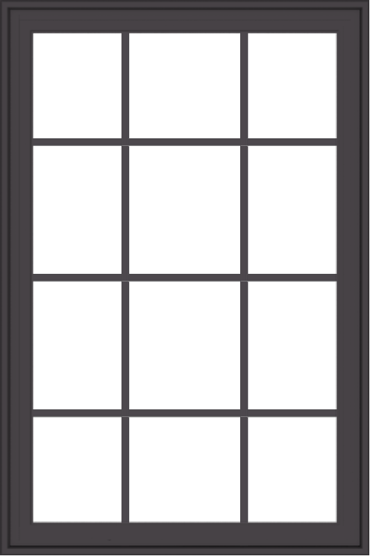 WDMA 32x48 (31.5 x 47.5 inch) Pine Wood Dark Grey Aluminum Crank out Casement Window with Colonial Grids Exterior