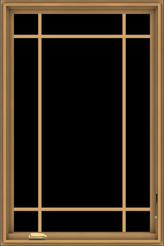 WDMA 32x48 (31.5 x 47.5 inch) Pine Wood Dark Grey Aluminum Crank out Casement Window with Prairie Grilles