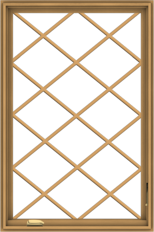 WDMA 32x48 (31.5 x 47.5 inch) Pine Wood Dark Grey Aluminum Crank out Casement Window without Grids with Diamond Grills