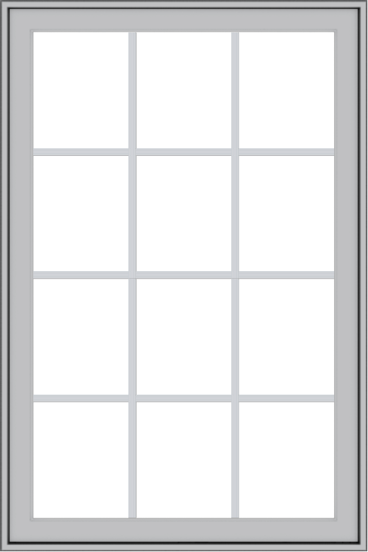WDMA 32x48 (31.5 x 47.5 inch) Pine Wood Light Grey Aluminum Push out Casement Window with Colonial Grids Exterior