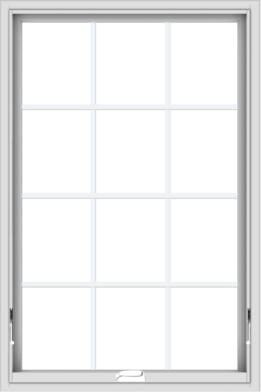WDMA 32x48 (31.5 x 47.5 inch) White Vinyl uPVC Crank out Awning Window with Colonial Grids Interior