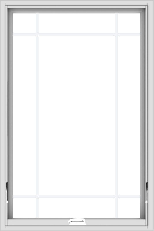 WDMA 32x48 (31.5 x 47.5 inch) White Vinyl uPVC Crank out Awning Window with Prairie Grilles