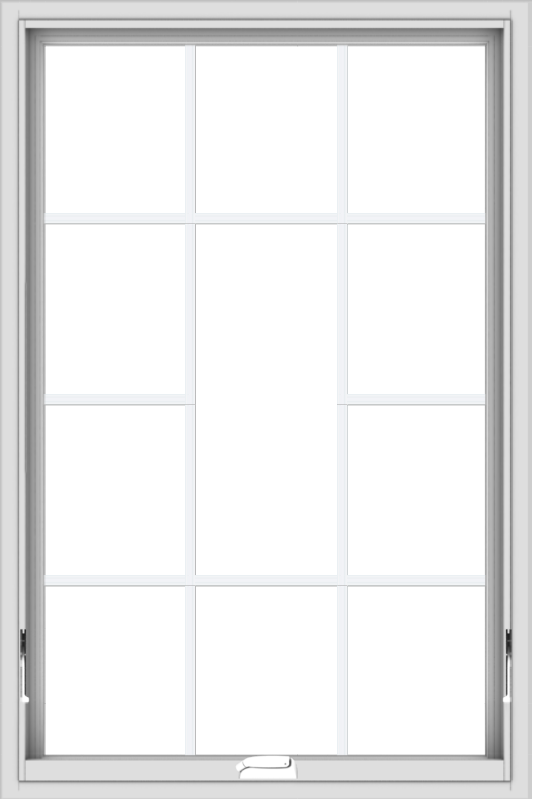WDMA 32x48 (31.5 x 47.5 inch) White Vinyl uPVC Crank out Awning Window without Grids with Victorian Grills