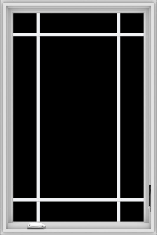 WDMA 32x48 (31.5 x 47.5 inch) White Vinyl UPVC Crank out Casement Window with Prairie Grilles