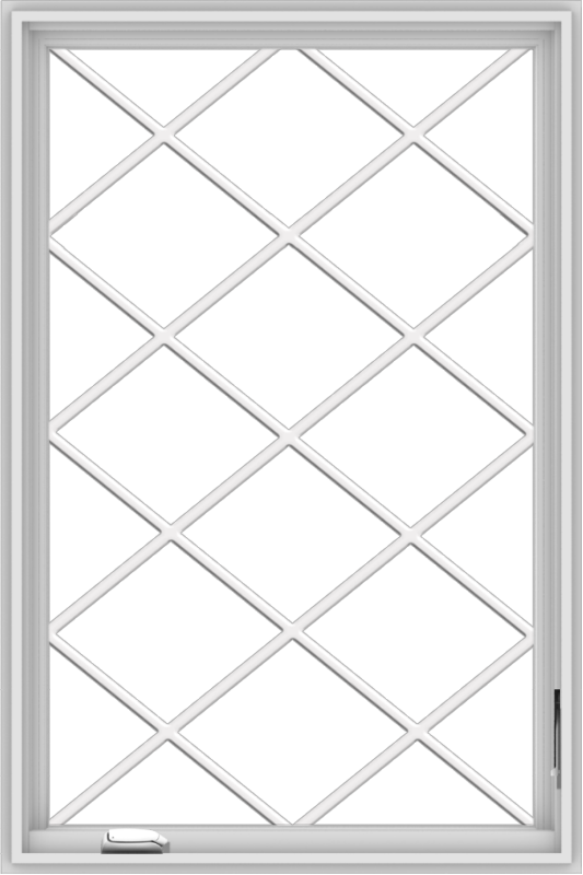WDMA 32x48 (31.5 x 47.5 inch) White Vinyl UPVC Crank out Casement Window without Grids with Diamond Grills