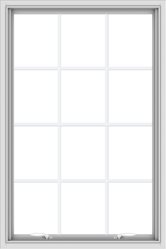 WDMA 32x48 (31.5 x 47.5 inch) White uPVC Vinyl Push out Awning Window with Colonial Grids Interior