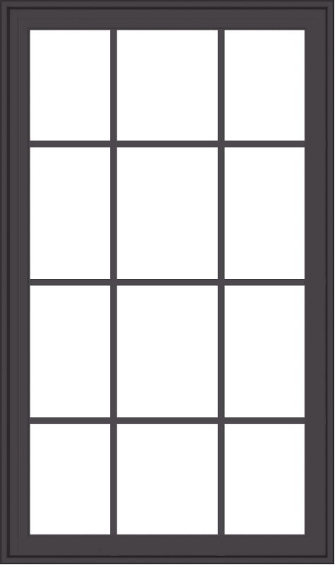 WDMA 32x54 (31.5 x 53.5 inch) Pine Wood Dark Grey Aluminum Crank out Casement Window with Colonial Grids Exterior